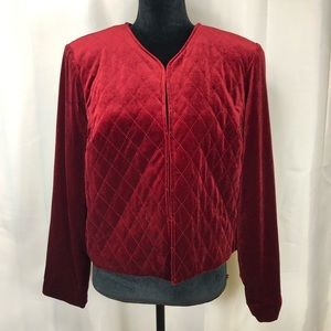Susan Graver Velvet Red long Sleeve Blazer